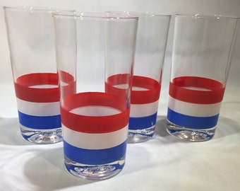 Vintage Georges Briard Red, White and Blue Tumblers Set of 4