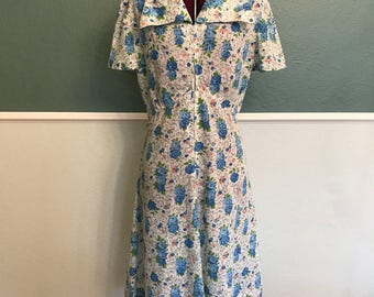 1940's Floral Cotton Zipper Front House Dress S-M