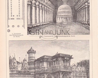 Antique Print of Indian Architecture and temples from 1890