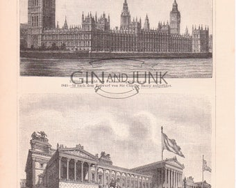 Antique Architectural print of famous parliament buildings, Berlin Reichstag, Houses of Parliament London 1890 print.