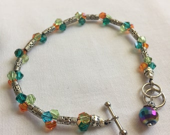 Tri-Colored Glass Crystal and Bali Silver Bracelet