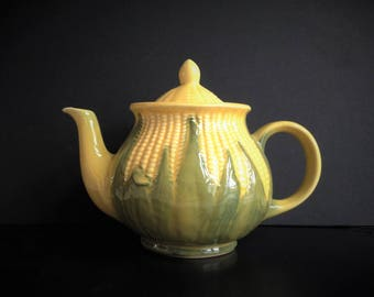 Vintage Shawnee Corn King Large Tea Pot No. 75 Shawnee Pottery Corn Lidded Teapot, Yellow and Green  Collectible SMALL CHIP
