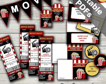 Movie Party Printables. Includes Editable Invitations and Decorations. Instant Download.