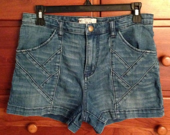 Free People Patchwork Denim Shorts 30W