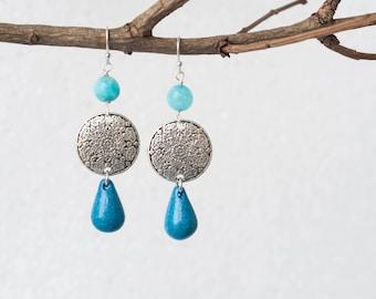 Blue statement earrings, Blue drop earrings, Blue earrings, Blue teardrop earrings, Earrings for blue dress