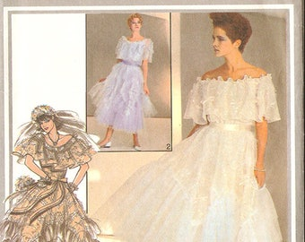 """Style 4400 Misses' 80's Wedding Dress by Zandra Rhodes - Rare - 80's Prom! - Size 10 Bust 32 1/2"""" - UNCUT"""