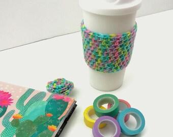 Cute Multi-Colored Crochet Cup Cozy: Coffee/Tea Sleeve    [066]