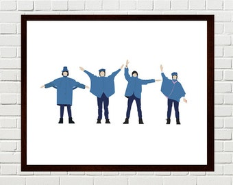 Beatles Art, Beatles Help, Minimalist Print, Beatles Poster Art, Help Print