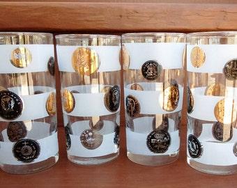 Vintage Libbey Coins Water Tumblers, Glassware, Barware, Set of 4