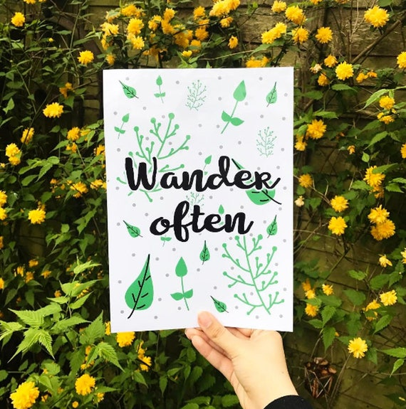Wander Often A4 Glossy Leaf Print