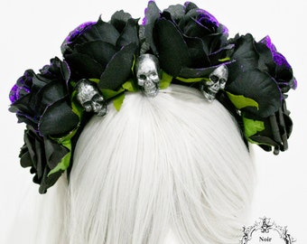 Day of the dead flower headband-gothic flower headpiece-headpiece-flower headband-headpiece with skulls-ready to ship