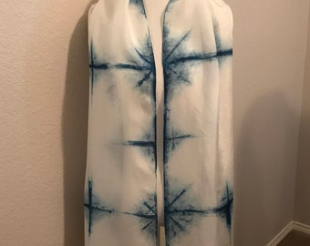 Shibori silk Scarf 14 x 72