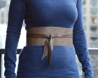Genuine Snake Skin Obi Belt, Wide Obi Belt in Brown, Brown Leather Belt, Snake Skin Belt, Wide Brown Leather Belt, Wide Brown Leather Belt