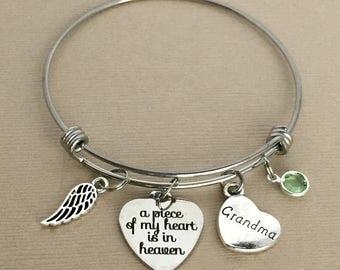 Grandma Memorial Bangle, A Piece of My Heart is in Heaven, Loss of Grandmother, Remembrance Bracelet, Memorial Jewelry, MEM006