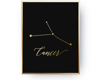 Cancer Constellation, Real Gold Foil Print, Zodiac Print, Cancer Print, Zodiac Sign, Cancer Zodiac Poster, Zodiac Constellation, Astrology