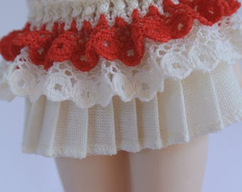 White and Red Skirt for Monster High, Blythe, Ever After High, Pullip