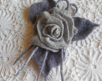 Felted Brooch READY TO SHIP Felt flower brooch Felted Flower Rose Trendy Accessories Art Brooch Handmade Brooch Wool flower Gift for her