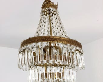 vintage CRYSTAL and Green OPALINE Murano Prisms Chandelier Milk Glass blown glass