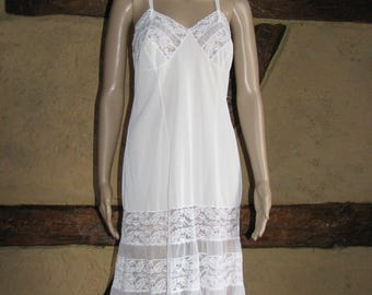 White lace NIGHTGOWN vintage NIGHTDRESS retro UNDERDRESS sexi 1970s robe midi underdress