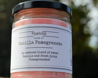 Vanilla Pomegranate Soy Candle   8oz Glass Jar   All Natural   Strong Soy Candle   High Quality & Long Lasting Soy Candle!