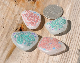 4 Hand Painted Sea Glass Magnets, Flower Patterns, Pink / Red, Green, Boho, Genuine Beach Glass