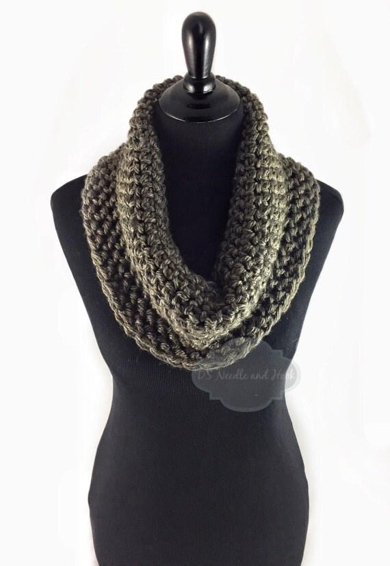 Brown Tweed Crochet Scarf, Crochet Cowl, Brown Heather Infinity Scarf, Taupe Neck Warmer, Handmade Crochet Scarf, Snood Scarf