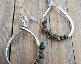 Hammered Wire Wrapped Stone Earrings