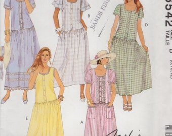 FREE US SHIP McCall's 6542 Loose Fitting Fashion Basic Drop Waist  Dress Retro 1993 1990's Uncut Sewing Pattern  Size 8 10 12