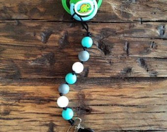 Teething silicon pacifier clip
