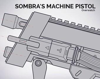 Overwatch - Sombra's Machine Pistol blueprint 1:1 scale