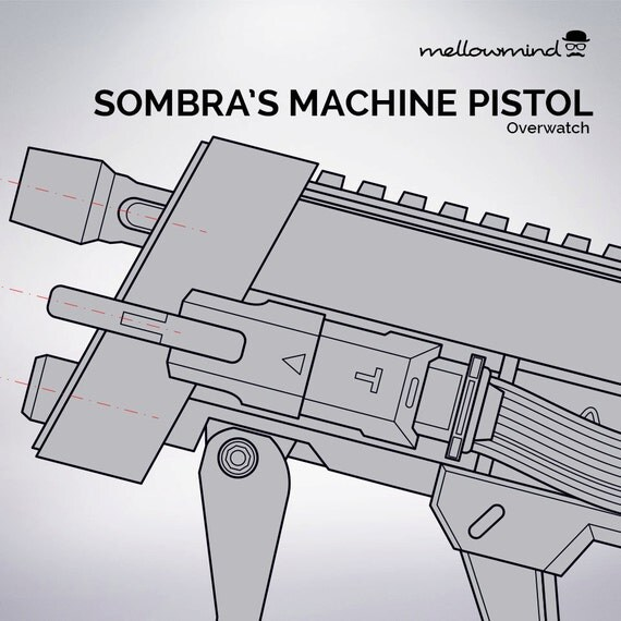 Overwatch sombra 39 s machine pistol blueprint 1 1 scale for Blueprint scale