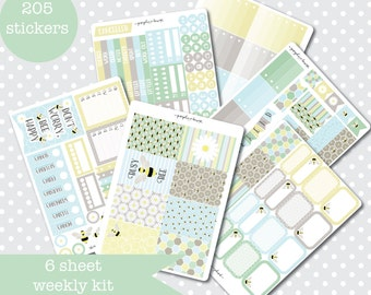 BEE HAPPY Spring Themed Planner stickers Weekly Kit Vertical layout 6 Sheets