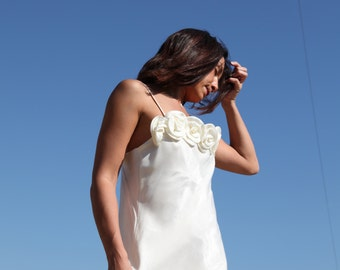 Cream  vintage boho maxi shiny wedding dress.