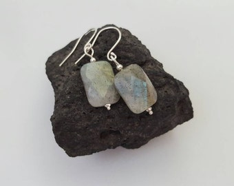 Modern labradorite and sterling silver drop earrings. Blue flash labradorite. Faceted labradorite beads. Handmade in Australia
