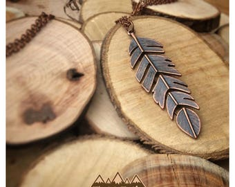 Loose Copper Feather Necklace