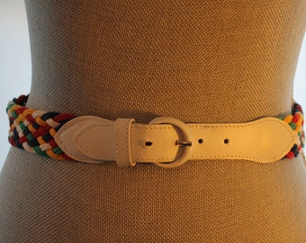 Vintage Belt - Hudson Bay Belt - Vintage Multicolored Fabric Belt - Braided Belt - Free Shipping Within Canada and USA