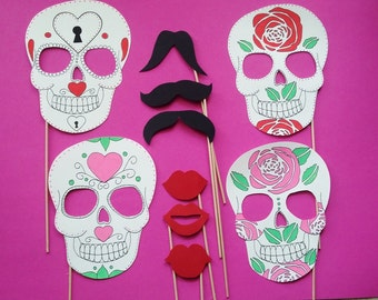 Accessories photobooth x 10 Mexican skulls