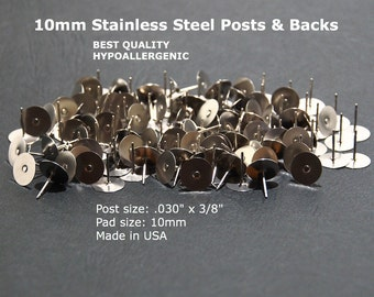 10mm Stainless Steel Flat Pad Earring Posts & Backs, 10mm Flat Pad Stud Findings, 10mm Earring Stud Posts, 10mm Hypoallergenic, USA Made