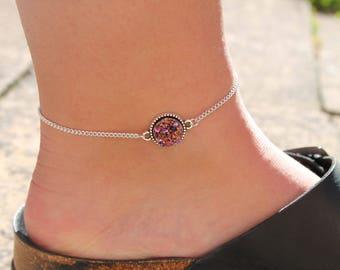 Pink Druzy Anklet
