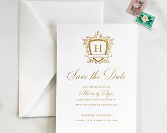 Elegant Monogram Save the Date, Crest Monogram Save the Date, Black Tie Save the Date, Formal Save the Date, Gold Foil Monogram - DEPOSIT