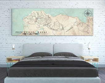 PRINCEVILLE HI Canvas Print Hawaii Kauai Vintage map City Hawaii Horizontal Wall Art Vintage Panoramic poster wall art Housewarming gift