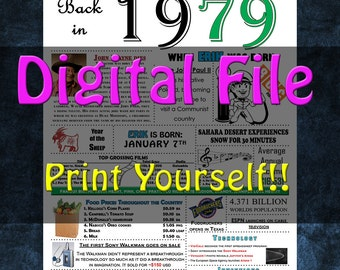 1979 Personalized Birthday Poster, 1979 History - DIGITAL FILE!!
