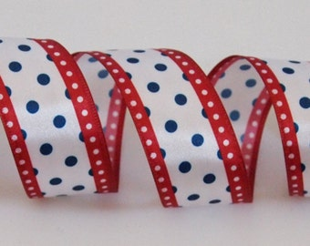 """5 Yards 1.5"""" Wide Wire Edge Ribbon Red White and Blue Polka Dot Ribbon for Wreaths, Bows, Home Decor"""