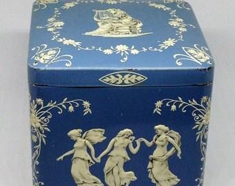 Vintage Wedgewood Style Tin Made in Holland, Blue Decorative Tin, Grecian Tin, Tea Tin, Storage Tin