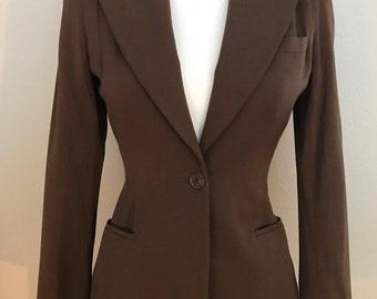 1940's Chocolate Brown Gabardine Blazer Jacket with Silk Lining- Small