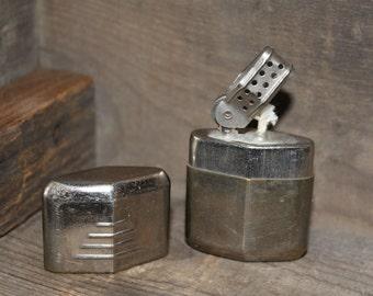 """SALE 15% off, Vintage WWII Pocket Lighter, """"Everlite"""" Windproof Pocket Lighter, Chrome over Brass, Canada, WWII, Tobacciana, Canadiana"""