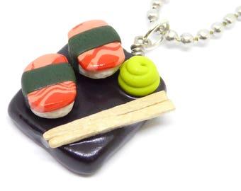 Salmon Sushi Necklace, Sake Nigiri Necklace, Sushi Charm Necklace, Sushi Jewelry, Polymer Clay Charm Necklace, Miniature Food Jewelry