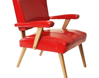 Mid Century Modern Arm Chair vintage 50s red vinyl lounge slipper danish space age 60s side accent living room viking artline mod naugahyde
