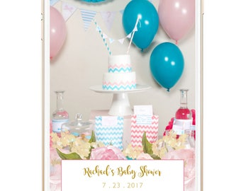 Snapchat Geofilter Baby Shower, Custom Snapchat Filter, Snap Chat Filter, Baby Shower Ideas, Girl Baby Shower Themes, Decor, Download, Pink