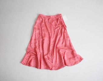 coral silk skirt | coral skirt | high waist fluted skirt